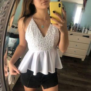 While Lace Peplum Top